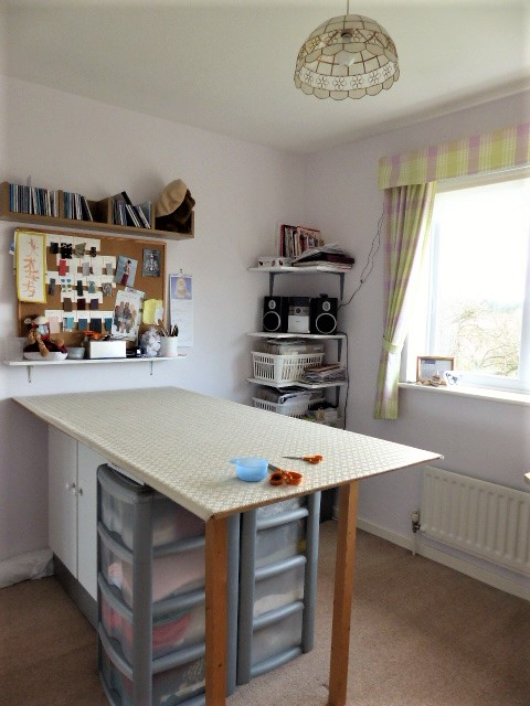Sewing room cutting table and storage