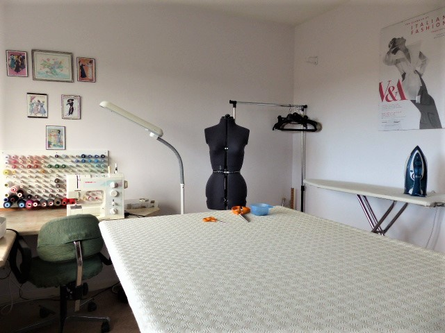 Sewing room view from cutting table
