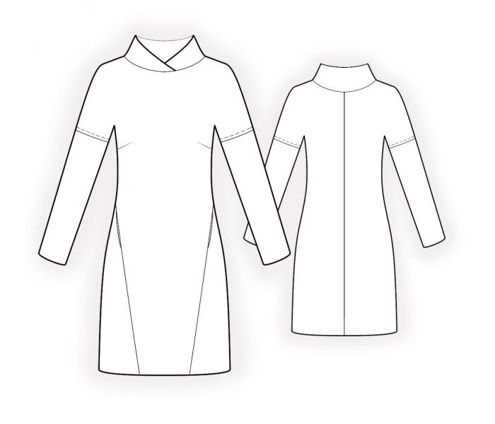 Lekala patterns sweater dress. Line drawing