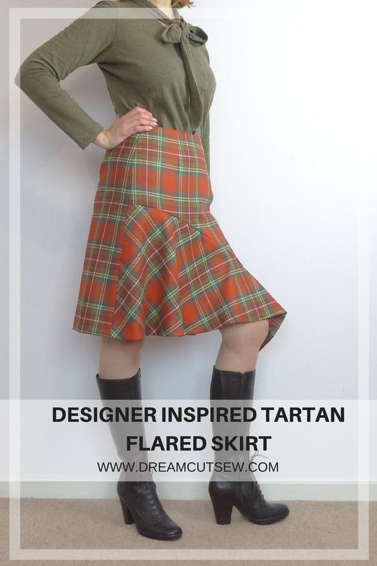 DESIGNER INSPIRED TARTAN FLARE SKIRT
