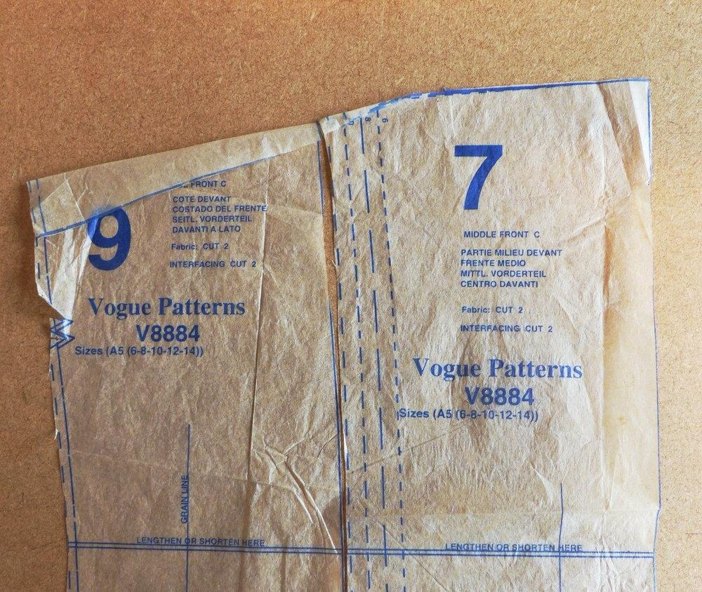 Vogue 8884 Trench coat pattern adjustment