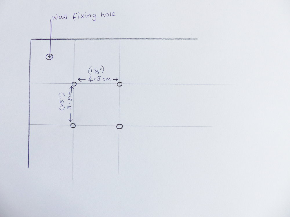 DIY thread storage Hole placement and wall fixing measurements