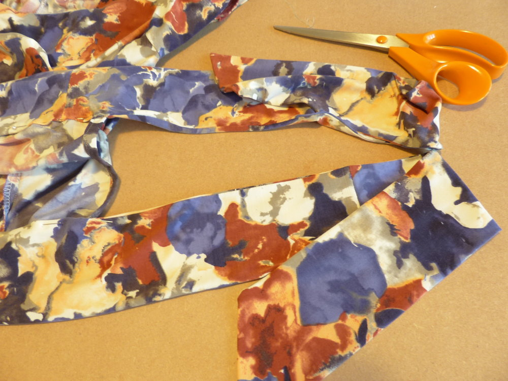 Re-fashioning a dress into a top Tie detail