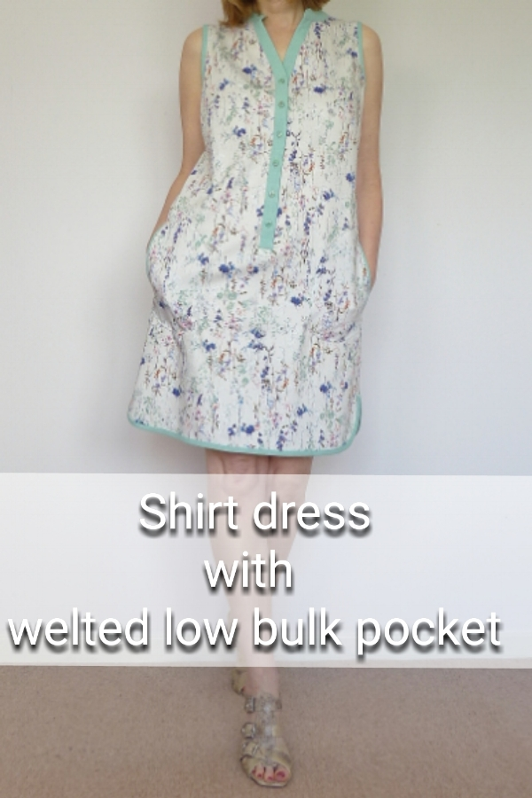 Summer shirtdress with welted low-bulk pocket method