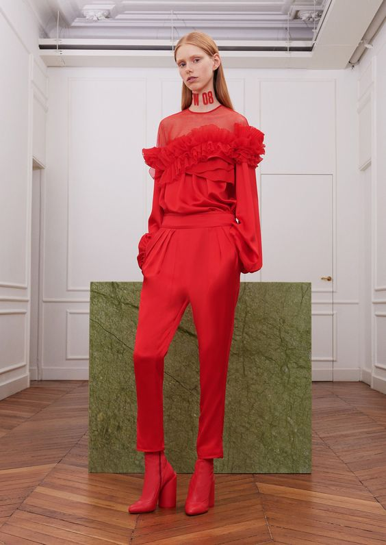 Givenchy: Red and ruffles but are you brave enough for head to toe red?