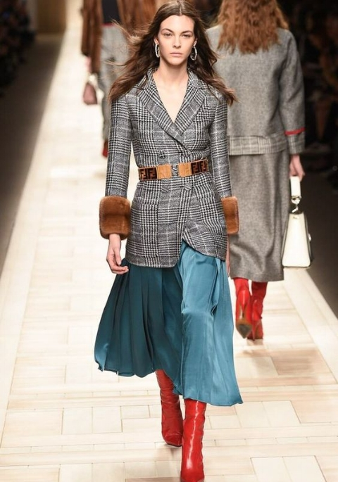 Fendi : Midi skirt and knee high boots. Jacket with belted waist definition, suiting fabric