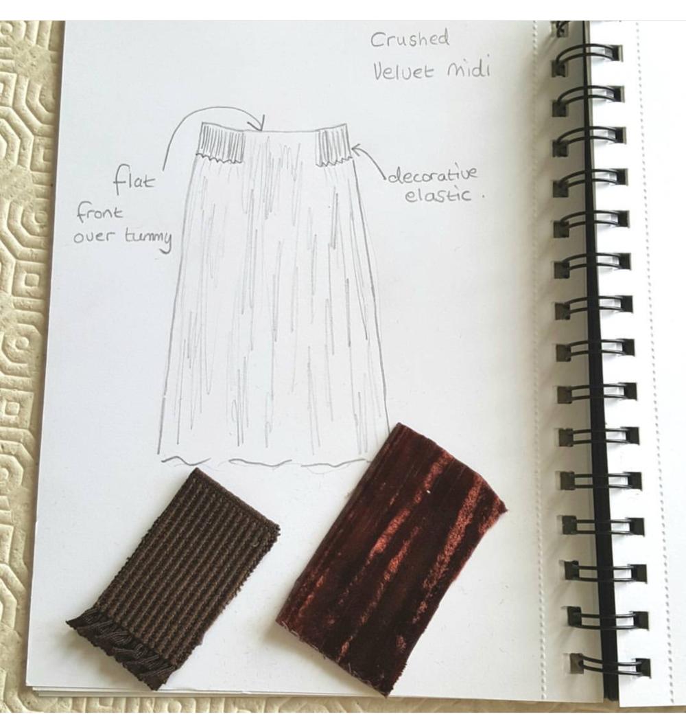 Velvet midi skirt Sketch