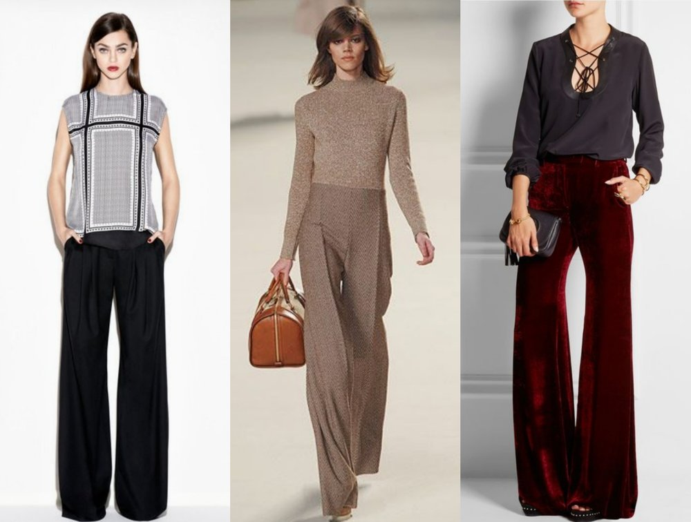 Sewing the trends: Wide-leg pants 101 Left to right:   Rachel Zoe, Chloe, Emilio Pucci