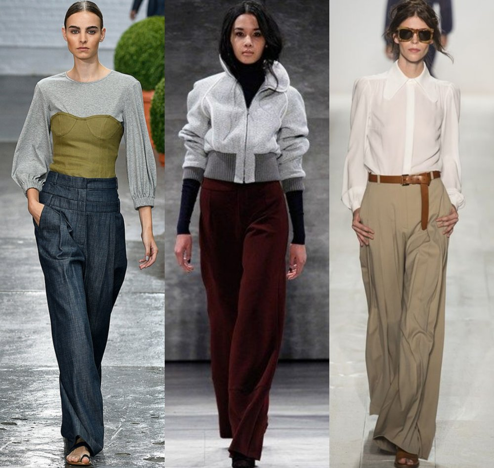 Sewing the trends: Wide-leg pants 101 Left to right:  Tibi, Charlotte Ronson, Michael Kors
