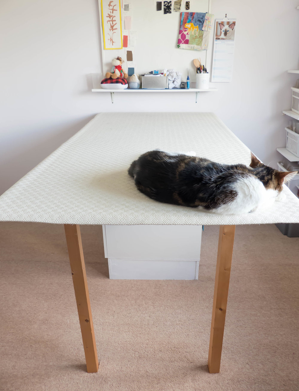 DIY folding cutting table with storage