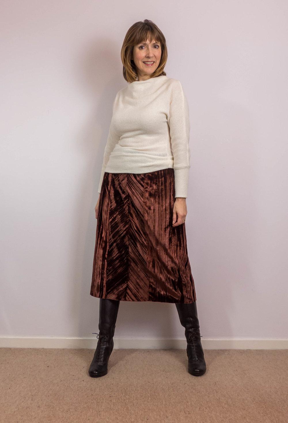 4549cfbf6 Self-Drafted Copper-Brown Velvet Midi Skirt - Dream. Cut. Sew