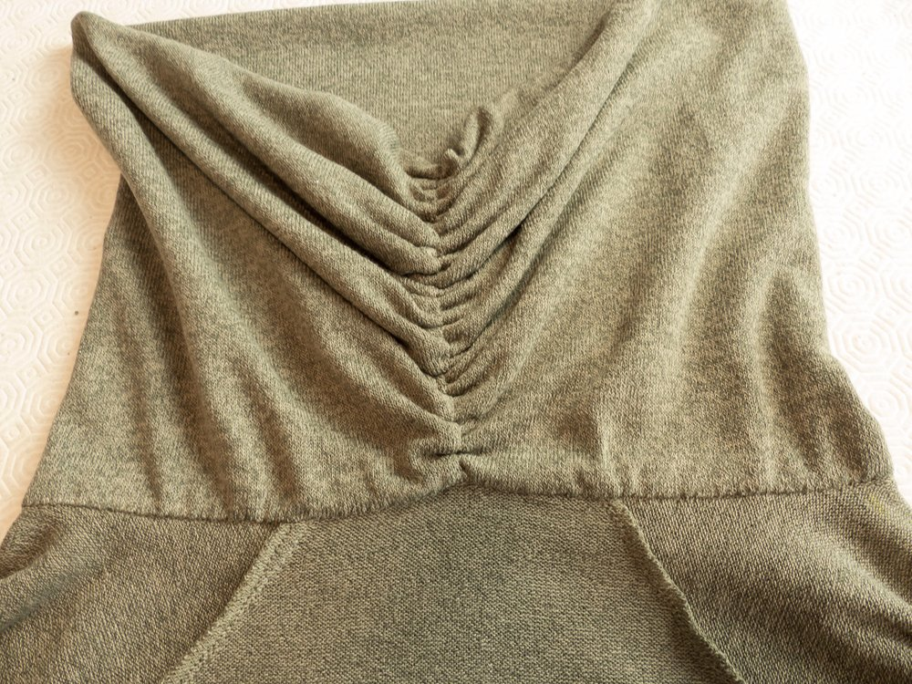 Back neck detail of Burda 104 08/17 draped collar sweater