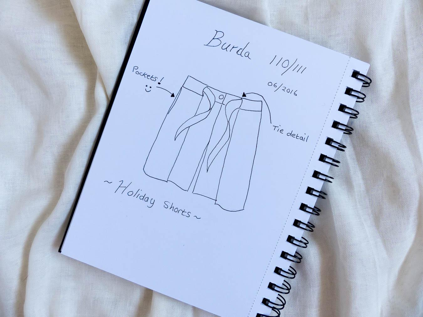 Burda Style Shorts sketch