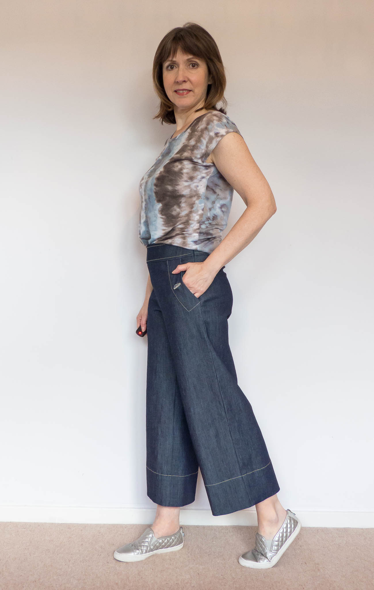 Denim Cropped Wide Trousers by BurdaStyle