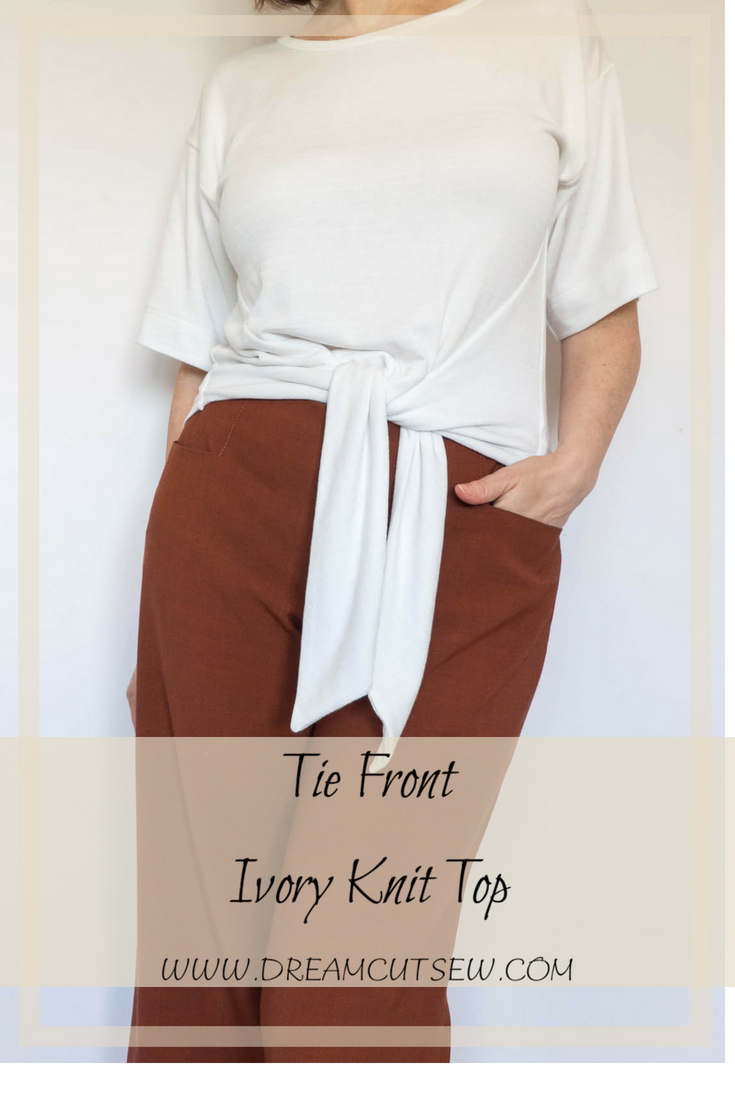 Tie Front Ivory Knit Top