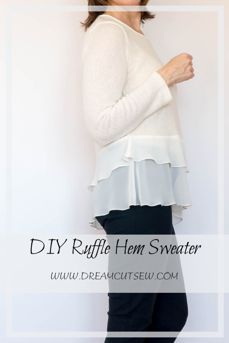 DIY Ruffle hem sweater