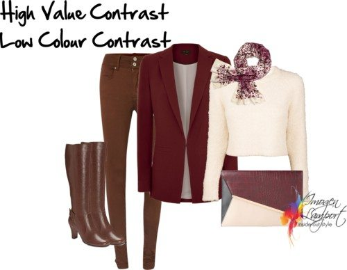 Wardrobe musings: colour analysis and investigating contrast. Contrast outfit from Insideout Style blog
