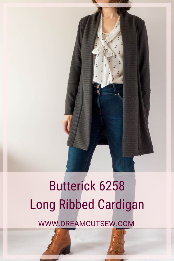Butterick 6258 Long Ribbed Cardigan