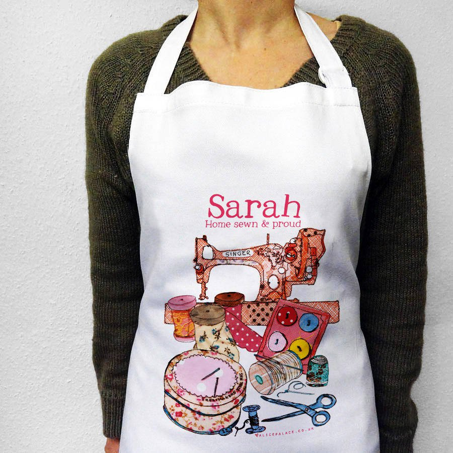 10 Christmas gift ideas for sewers. Personalised sewing themed apron