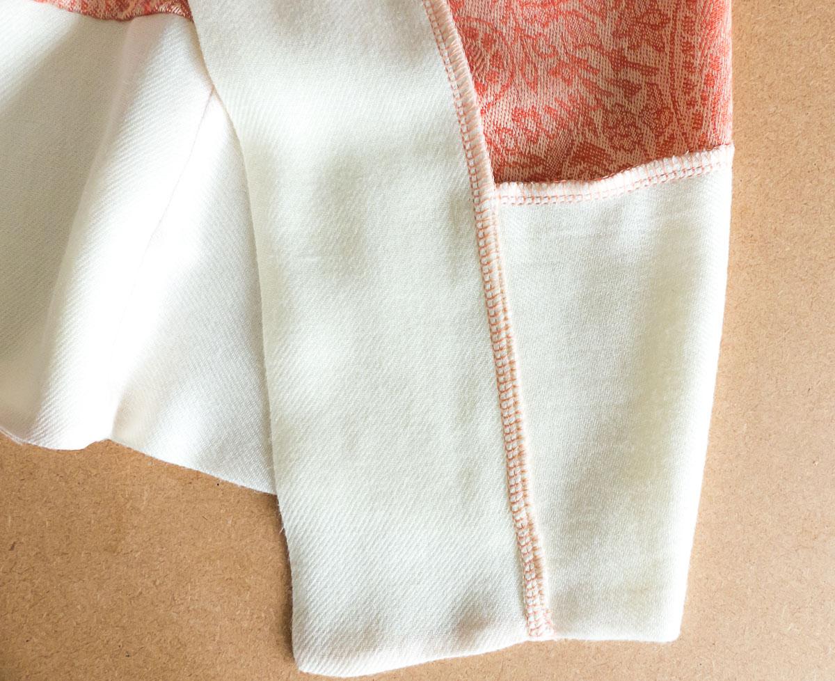 DIY Kimono Robe Using Two Scarves. Hem detail