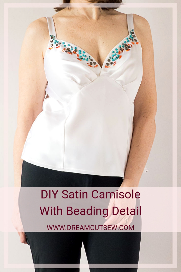 DIY Satin Camisole With Beading Detail