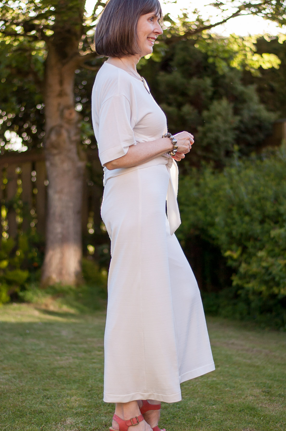 Ivory jersey wide-leg pants using Simplicity 1071