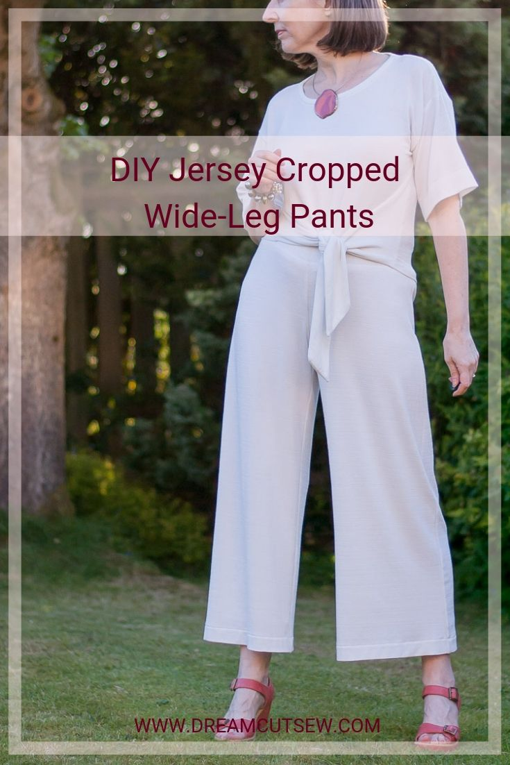 Pinterest graphic for wide-leg jersey pants