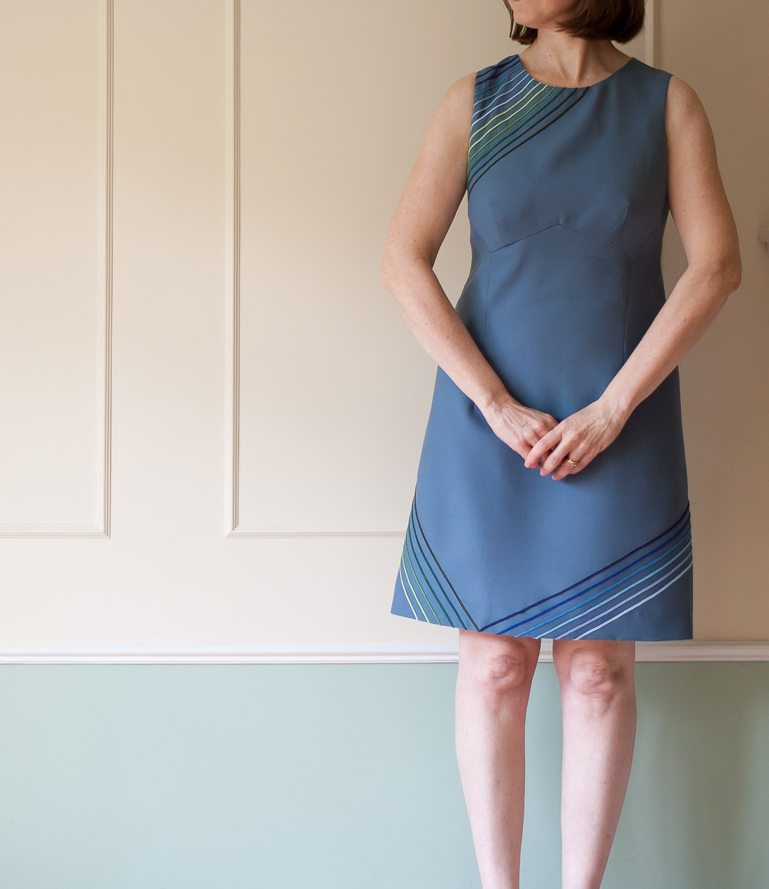 Front view of DIY 60s Style dress Using Vogue 1809