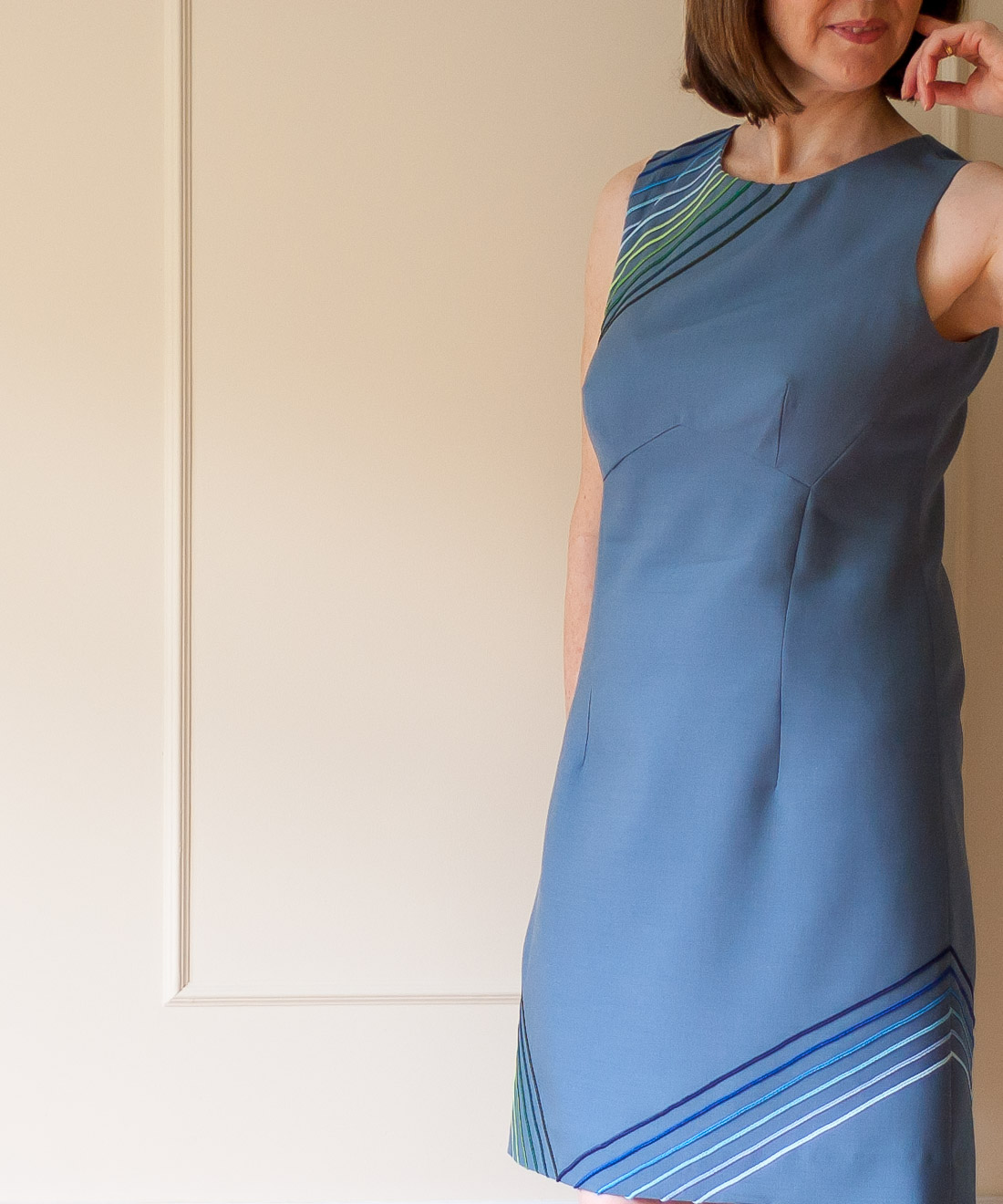 DIY 60s Style dress. Close up showing seaming.
