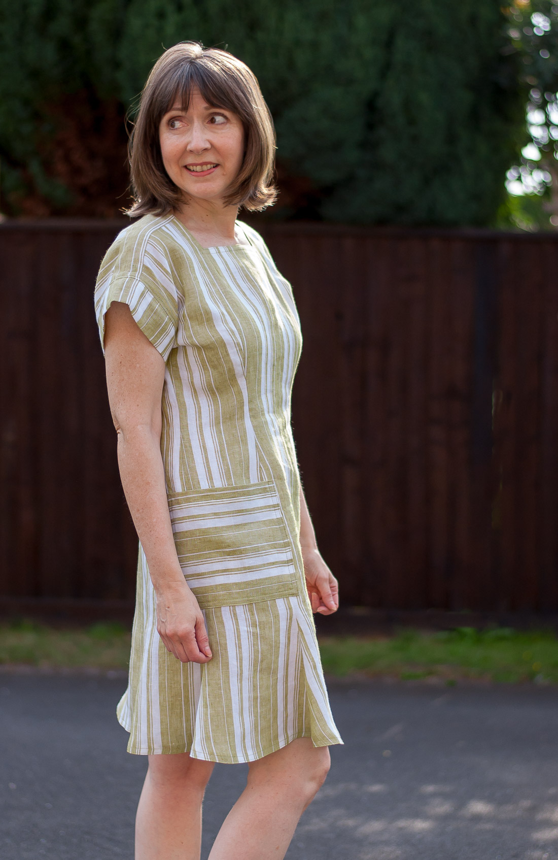Side view of Striped linen summer dress