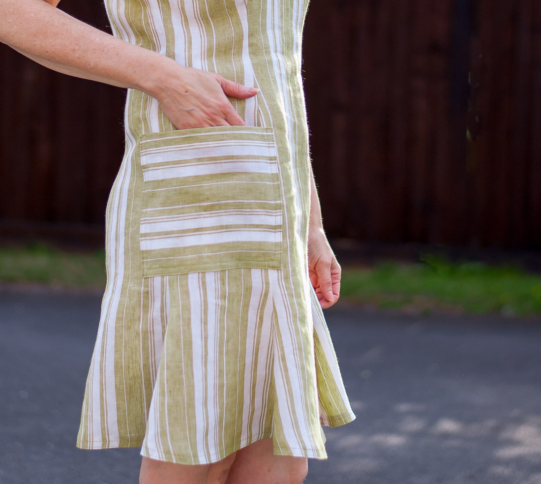 Pocket detail of striped dress