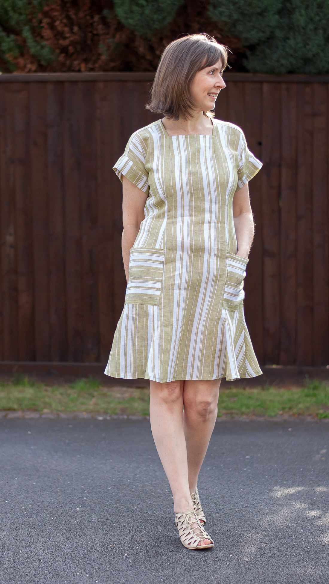 Striped linen summer dress