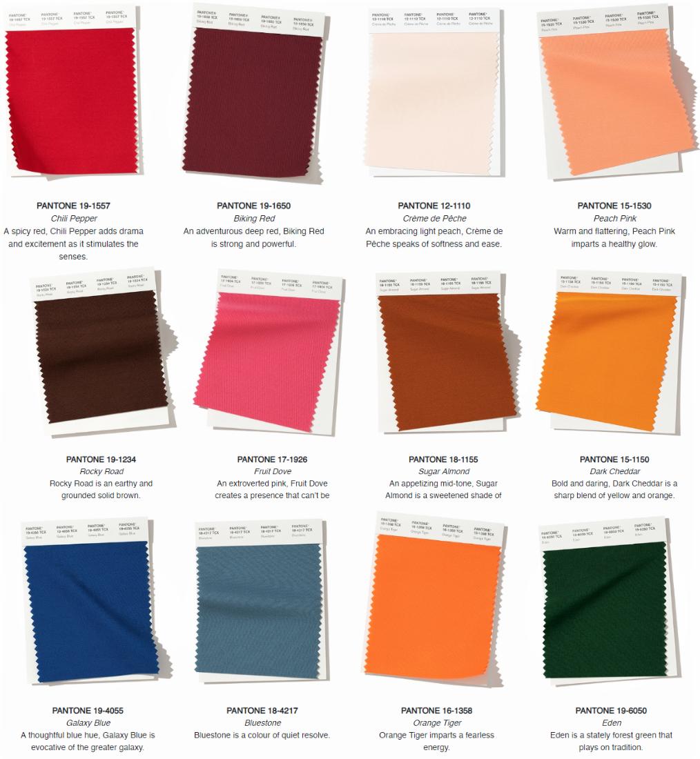 Pantone colours for Autumn trends 2019