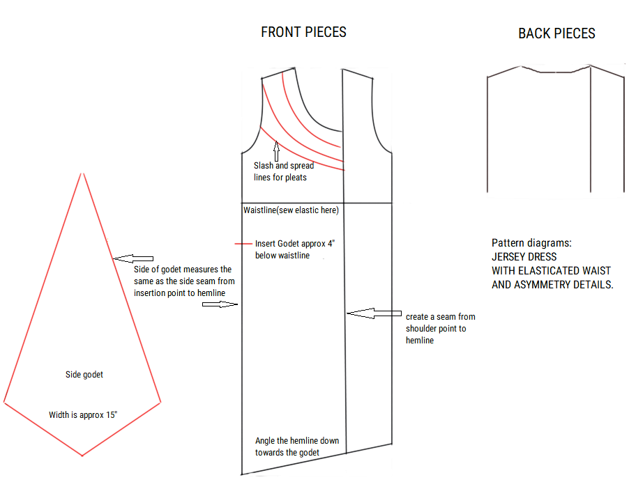 Pattern shapes for DIY Asymmetric dress