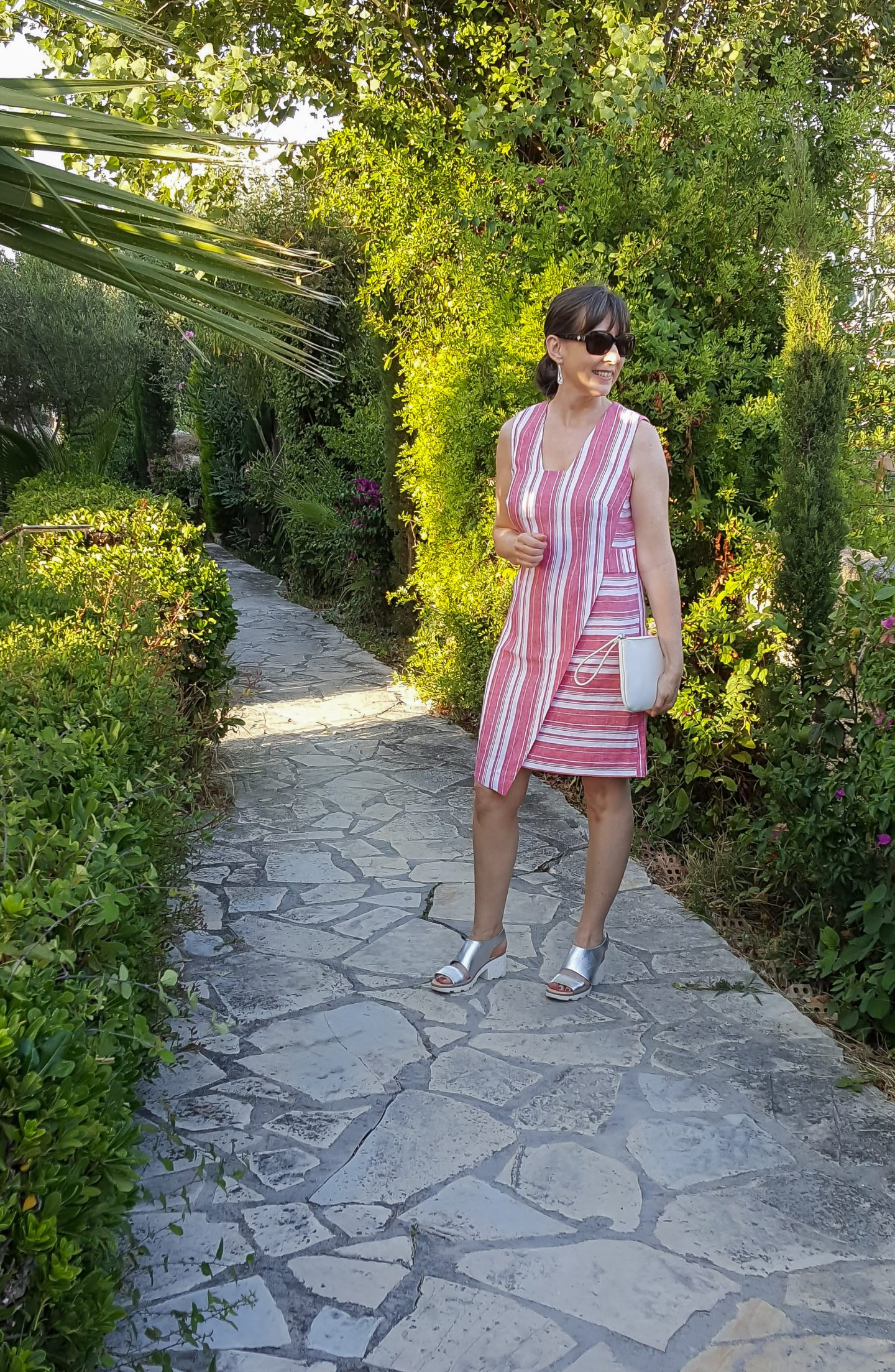 DIY Striped Asymmetric Linen Dress