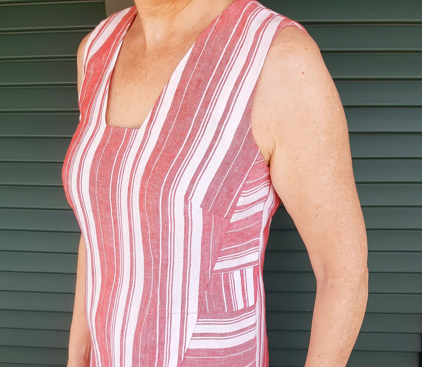 Asymmetric Linen Dress. Close- up