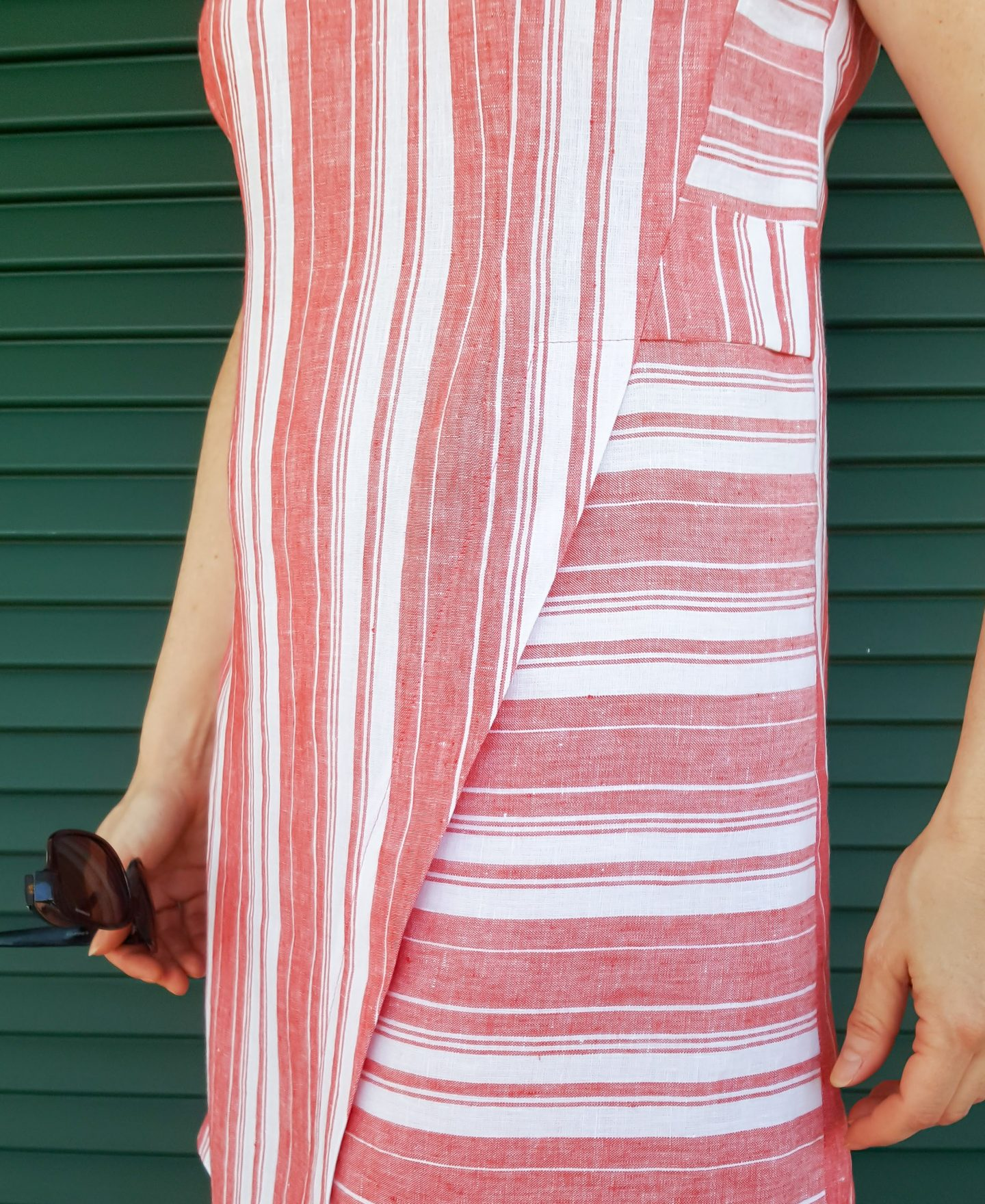 DIY Striped Dress close-up detail