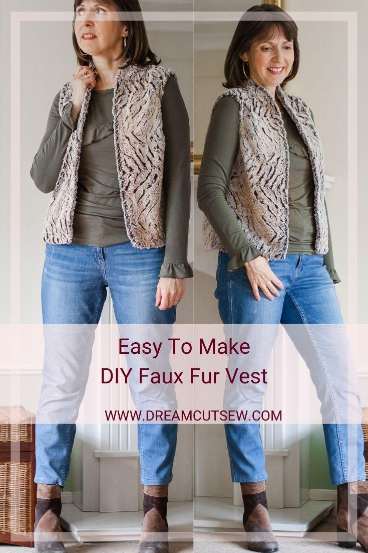 Pinterest image DIY Faux Fur Vest