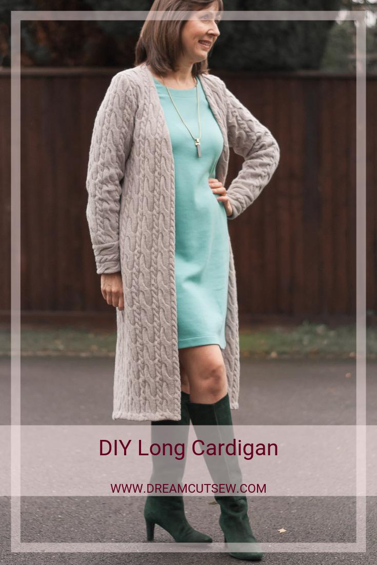 Pinterest image of DIY Long Cardigan