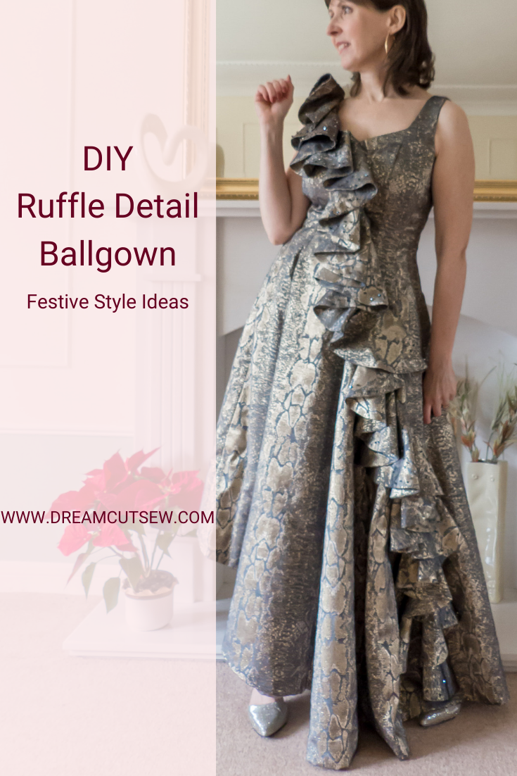 Pinterest image for ruffle detail ballgown