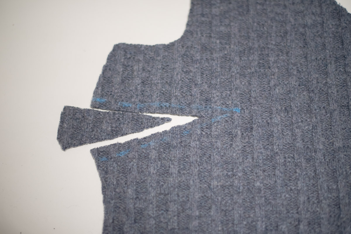 Cutting away bulk on the dart for DIY Cropped sweater using McCalls 7445