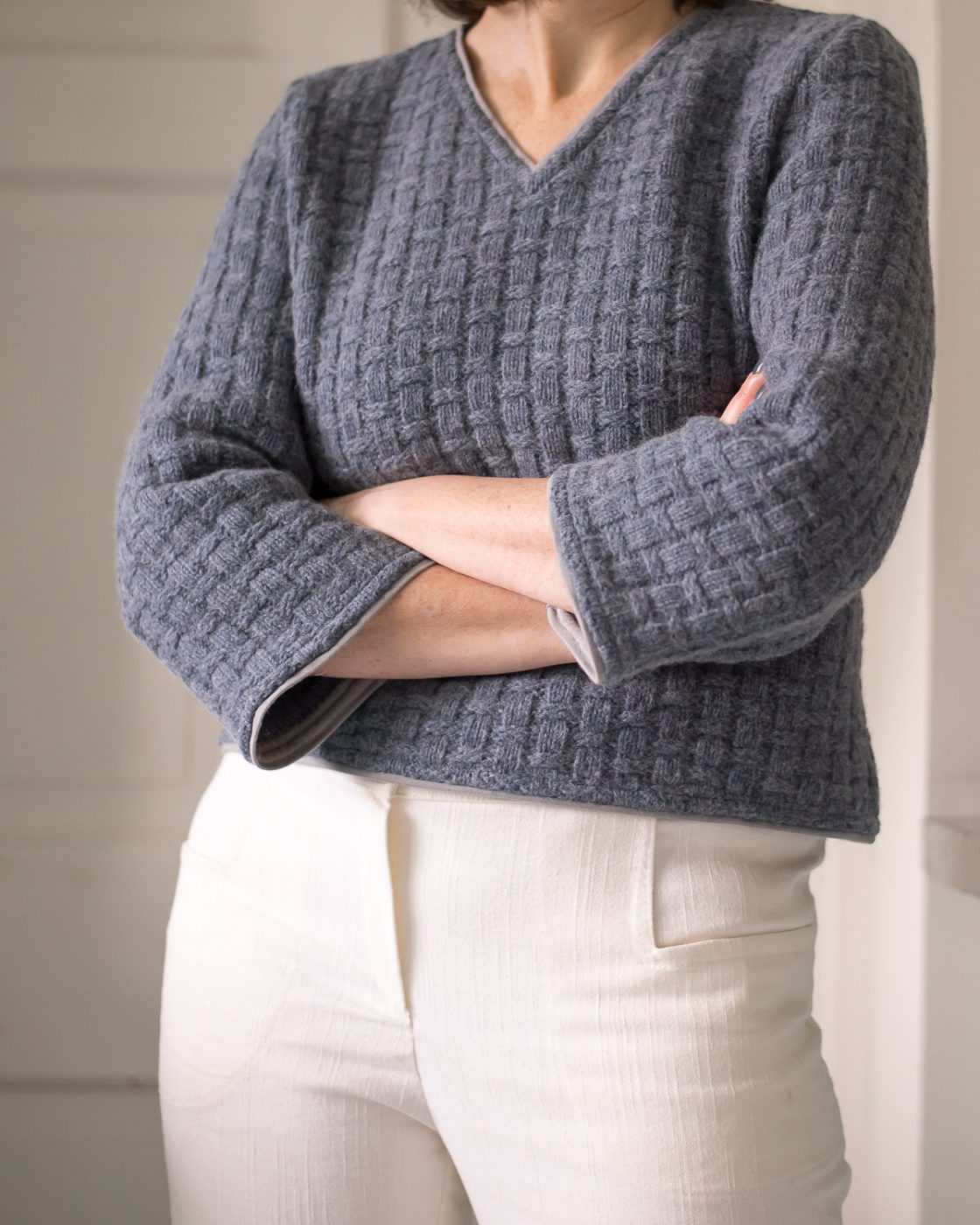 DIY Cropped sweater using McCalls 7445