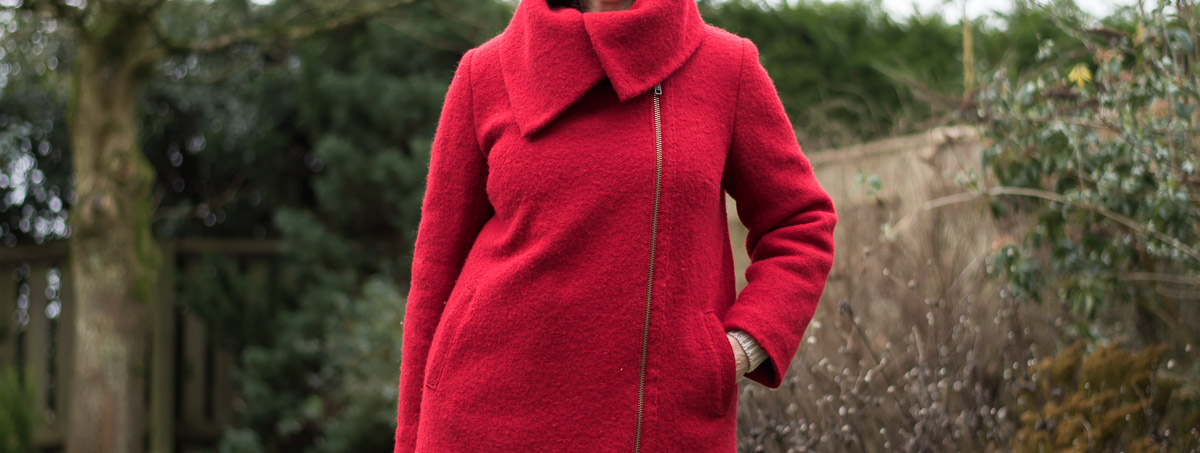 Collar close-p of DIY Red Coat