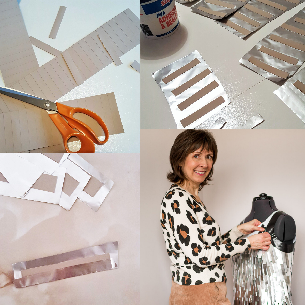 Montage of process for 'An Unconventional Cocktail Outfit'