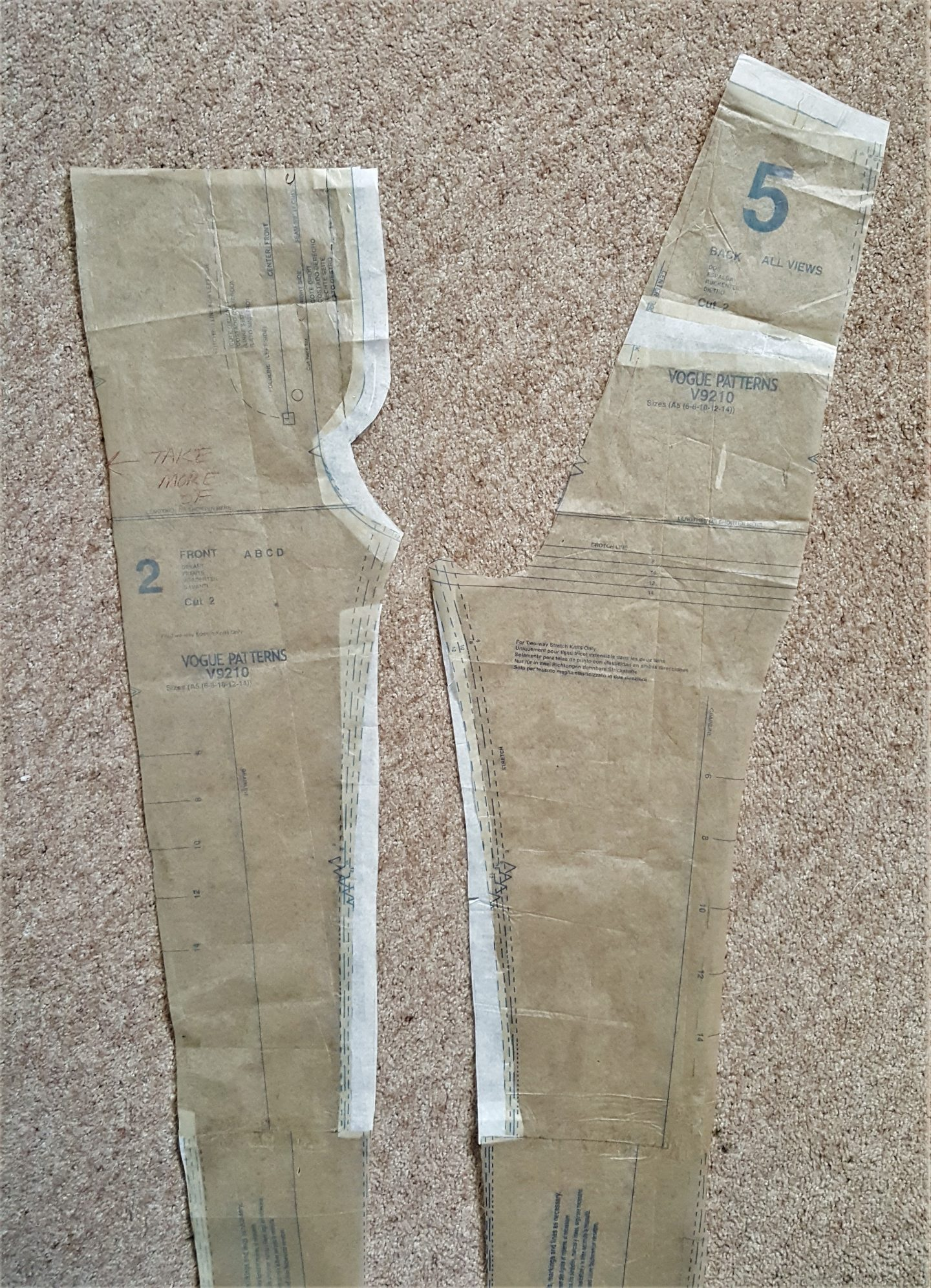 Knock-knee and crotch curve pattern adjustments for leopard print skinny pants using Vogue 9210