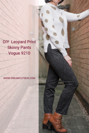 Pinterest image for Leopard Print Skinny Pants using Vogue 9210