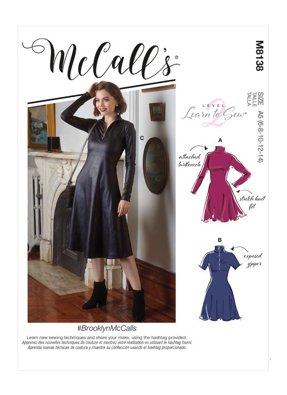 Sewing Inspiration Autumn Trends 2020 Leather dress pattern