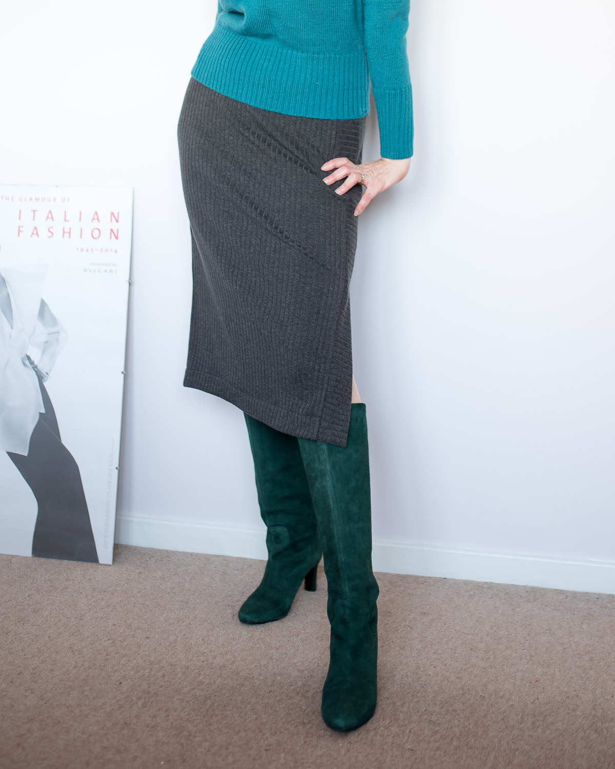 Easy DIY Sweater Knit Midi Skirt