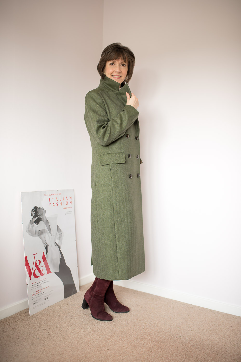 Vikisews Emmanuelle Coat In Olive Wool