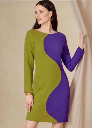 Vogue 1819 colour block dress: Sewing Inspiration: Autumn/Winter Trends 21/22
